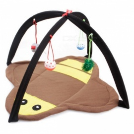 Foldable Bee Style Soft Fleece Cat Bed Tent Mat Matress Pad Blanket with Ball Bells Kitten Playing Toys - Yellow + Brown
