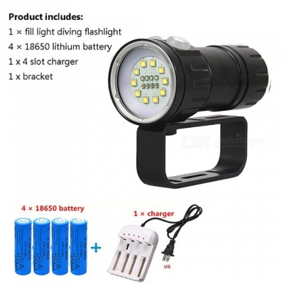 AIBBER TONE XHP70 P90 Red Blue Professional Photography Fill Light, 80m Powerful 18-LED Diving Flashlight