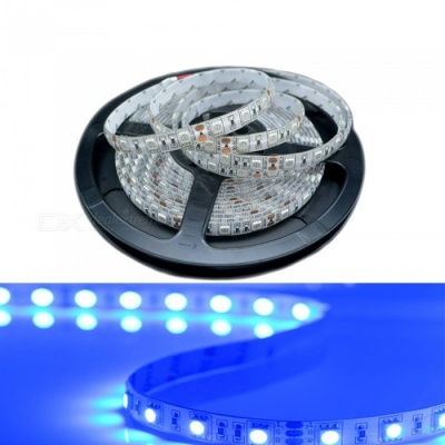 ZHAOYAO 5m Waterproof 60-5050 SMD LED Blue Light Flexible Light Strip with Adhesive Tape, DC 24V