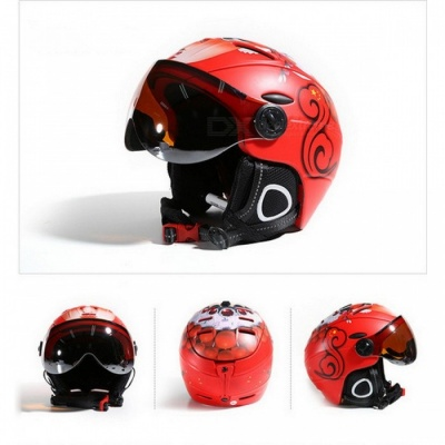 MOON MS-95 Ultralight Integrally-molded High Quality Professional Snowboard Skateboard Safety Helmet - Red (L Girth 58-61cm)
