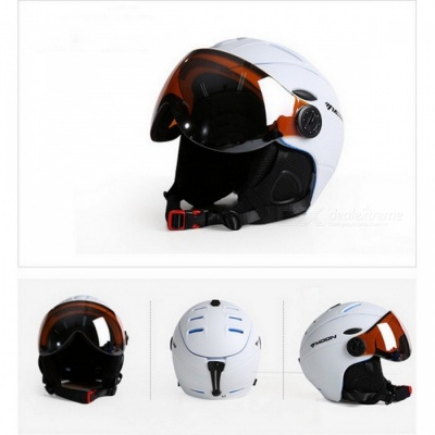 MOON MS-95 Ultralight Integrally-molded High Quality Professional Snowboard Skateboard Safety Helmet - White (L Girth 58-61cm)