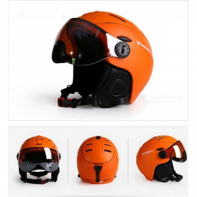 MOON MS-95 Ultralight Integrally-molded High Quality Professional Snowboard Skateboard Safety Helmet - Orange (L Girth 58-61cm)