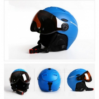 MOON MS-95 Ultralight Integrally-molded High Quality Professional Snowboard Skateboard Safety Helmet - Blue (L Girth 58-61cm)