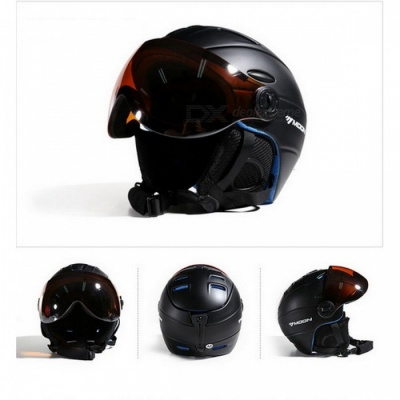 MOON MS-95 Ultralight Integrally-molded High Quality Professional Snowboard Skateboard Safety Helmet - Black (L Girth 58-61cm)