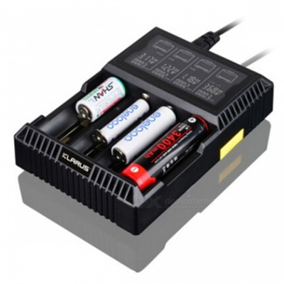 Klarus CH4S Intelligent Four Slots Battery Charger with LCD for Lithium-ion / Ni-MH / Ni-Cd Batterie - Black