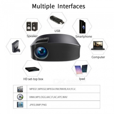 YG600 Full HD 1080P Multimedia LED 3D TV HD Video Projector for Home - Black (EU Plug)