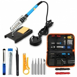 Temperature Adjustable 60W Electric Soldering Iron with 5pcs Tips, Tweezers, Cables Kit (US Plug)