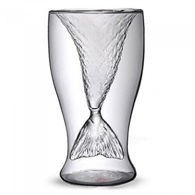 Double Layer Mermaid Cup Transparent Heat-proof Drinking Cup Crystal Wine Beer Vodka Cocktail Shot Glassware Cup Bar Party