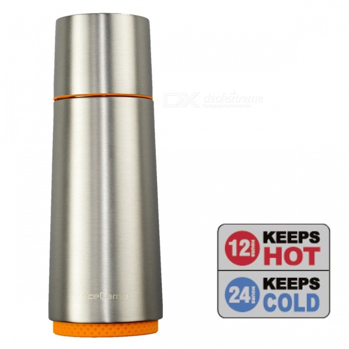 AceCamp Stainless Steel Silver Vacuum BottleเธƒเธŒ 370ML Thermo Hot Cold Tea Coffee Mug Cup with HandleเธƒเธŒ Storage Filter Strainer