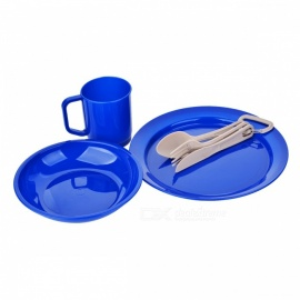 OUT-D CA-3 Tableware Set with Cutlery, Midnight Blue Plastic Plate, Bowl and Tumbler Dinnerware - Blue