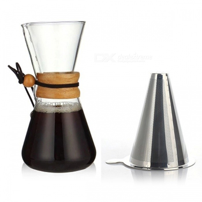 ZHAOYAO Heat Resistant 500ML Glass Coffee Pot + Stainless Steel Strainer