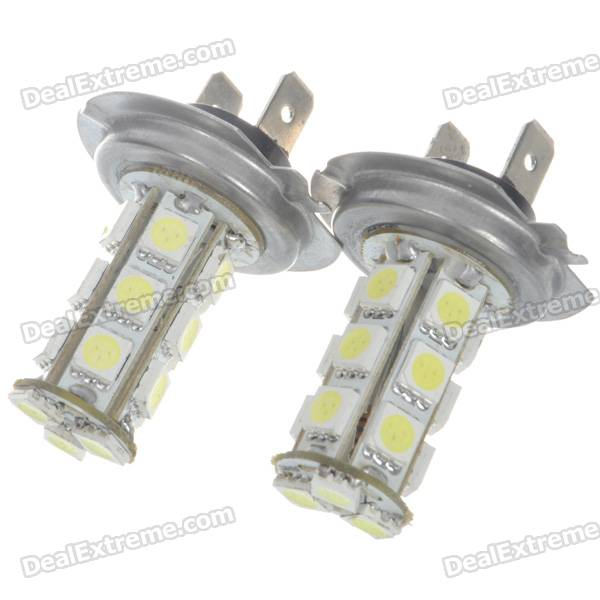 H7 4W 18-SMD LED 6500K 216-Lumen White Fog Lights for Car (Pair/DC 12V) possbay car fog lights for bmw f10 f11 f18 5 series 2009 2013 yellow front lower daytime driving fog lamps car styling