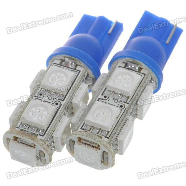 T10 2W 126-Lumen 9-SMD LED Car Blue Light Bulbs (Pair/DC 12V)