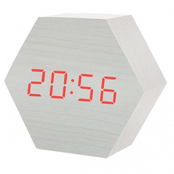BSTUO Cute Hexagon Shaped USB Or Battery Powered LED Digital Alarm Clock  Sound Control - White - Free Shipping - DealExtreme 23c45f92c15