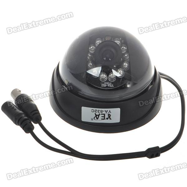 1/3 CMOS Dome Surveillance Camera with 12-IR LED Night-Vision (NTSC) 1 3 mp cmos cctv ahd camera ahd m 960p 2500tvl security surveillance mini dome camera with ir cut filter night vision 1080p lens