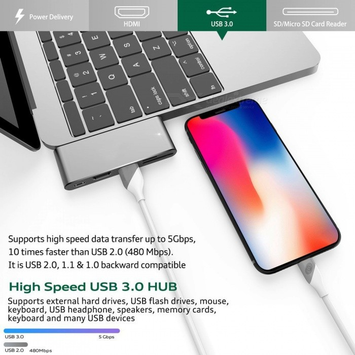 Measy usb type c hub with hdmi output pass through charge