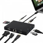 USB 3.1 Type C HUB to HDMI VGA RJ45 Gigabit Ethernet Switcher, SD Card Reader 3.5mm Audio Type-c PD Charge Adapter