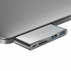 """Measy Type-C Multiport Adapter Pass-through Charging Port, 2 USB 3.0 Port, SD / Micro SD Card Reader MacBook 12"""" - Grey"""