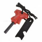 Wilderness Survival Fire Sparkle Flint + Opener + Sawtooth (Red + Black)