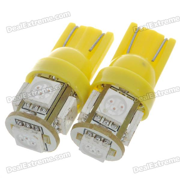 T10 1.2W 70-Lumen 5-SMD LED Car Yellow Light Bulbs (Pair/DC 12V)