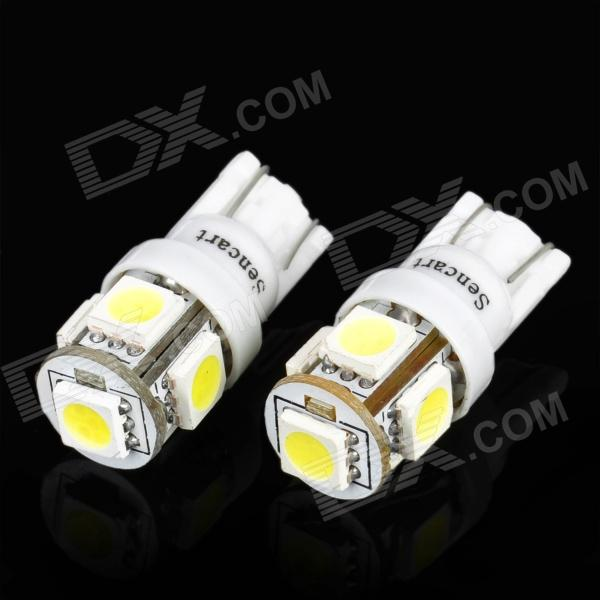 T10 1.2W 6500K 32-Lumen 5-SMD LED Car White Light Bulbs (Pair/DC 12V)
