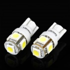 T10 1.2W 6500K 70-Lumen 5-SMD LED Car White Light Bulbs (Pair/DC 12V)
