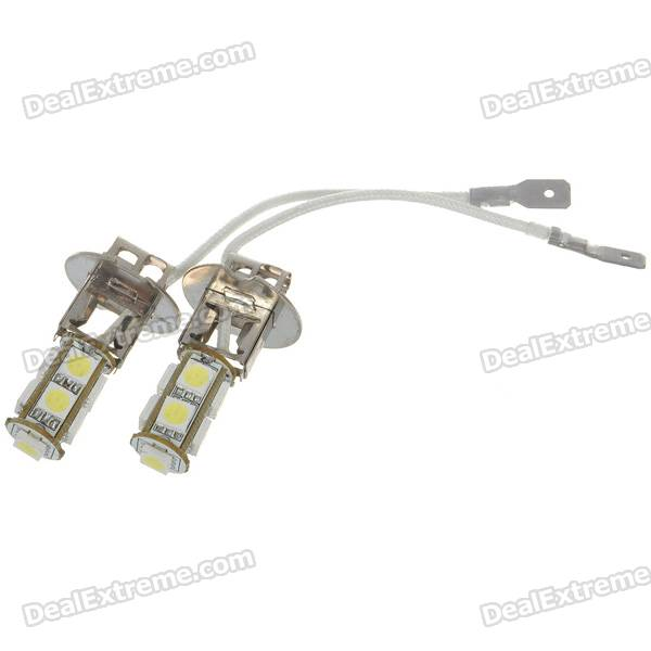 H3 2W 9-SMD LED 126-Lumen 6500K Fog White Light Bulbs (Pair/DC 12V)