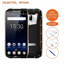 "OUKITEL WP5000 IP68 Full Screen 5.7"" 18:9 HD+ 1440*720 Helio P25 Octa-core 2.5GHz Smart Phone with 6GB RAM, 64GB ROM - Black"