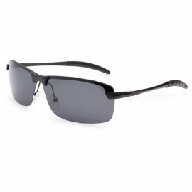 Men's Fashion Polarized UV400 Protection Metal Frame PC Lens Sunglasses - Black + Grey