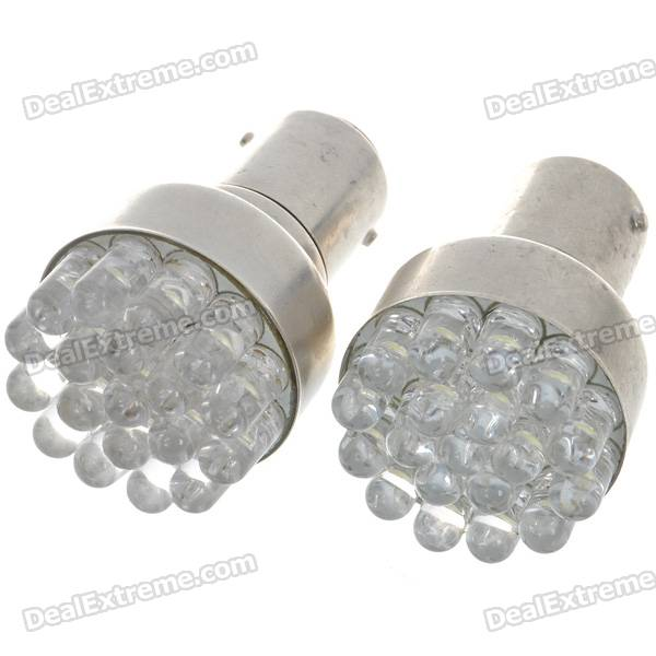 1142 1W 6500K 85-Lumen 19-LED Car White Light Bulbs (Pair/DC 12V)