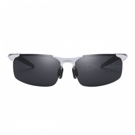 Men's Polarized Light Aluminium Magnesium Sunglasses for Outdoor Cycling and Driving - Silver + Grey