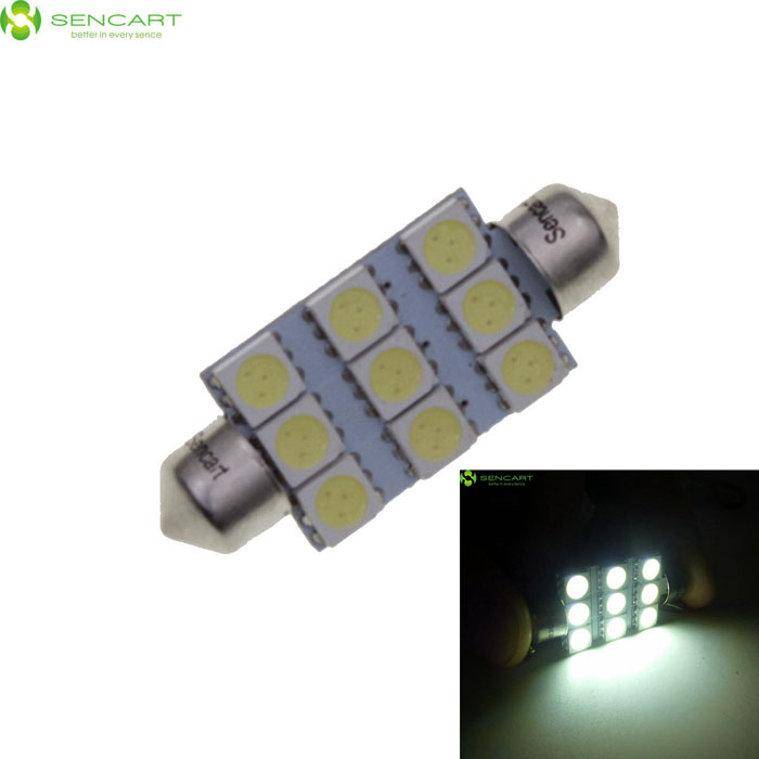 42mm 2W 6500K 75-Lumen 9-SMD LED White Light Bulb for Car (DC 12V) 9006 6w 190 lumen 18x5050 smd led car white light bulb dc 12v
