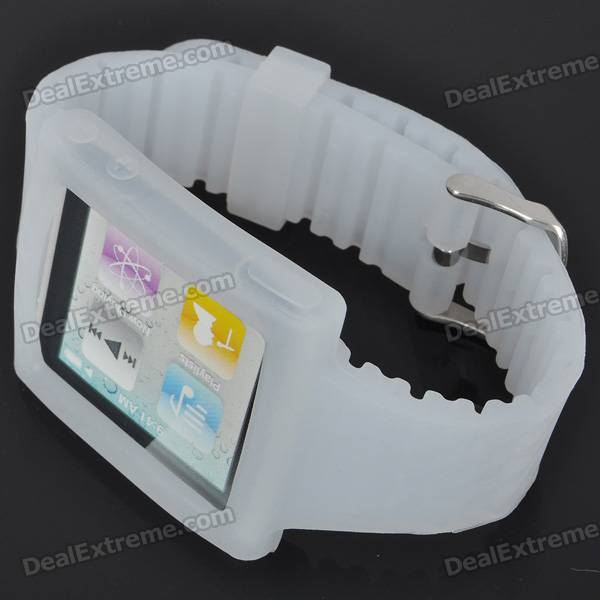 Wrist Watch Style Protective Silicone Case with Band for Ipod Nano 6 (White)