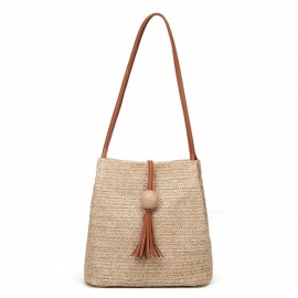 Summer Bucket Bag Straw Plaited Bag for Women - Brown