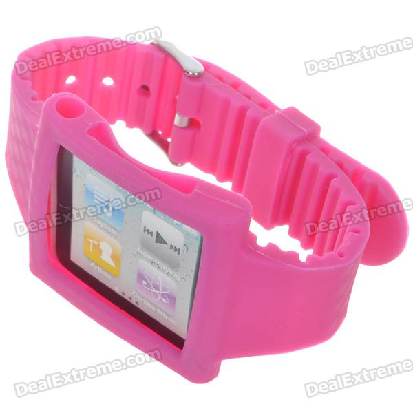 Wrist Watch Style Protective Silicone Case with Band for Ipod Nano 6 (Rose Red)