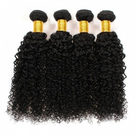 Human Hair Deep Wave Weave Bundles Kinky Curly Hair With Closure Remy for Hair Extension - Black (24inch)