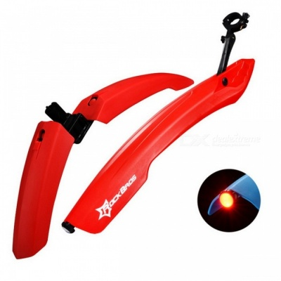 ROCKBROS Mountain Cycling Front Rear LED Mudguard Set - Red