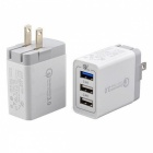 30W USB 3 Port QC 3.0 Fast Quick Charge Wall Charger Adapter - White (US Plug)