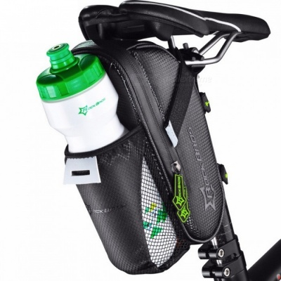 ROCKBROS Waterproof MTB Bike Bicycle Rear Saddle Bag with Water Bottle Pocket - Black