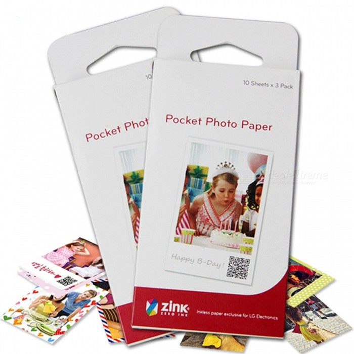 30 Sheets Adhesive Printer Papers for LG Pocket Photo PD221, PD239, PD251 -  White