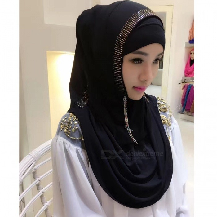 Muslim Rrhinestone Decoration Stylish Headdress Head Cover for Women - Black