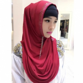 Muslim Rrhinestone Decoration Stylish Headdress Head Cover for Women - Red