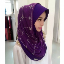 Muslim Rrhinestone Style Headdress Summer Head Cover for Women - Purple