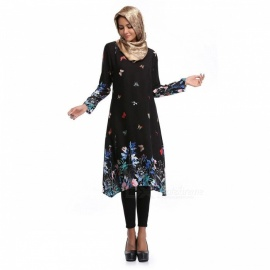 Butterflies + Flowers Pattern Viscose Muslim Worship Long Sleeve Midi Dress for Women - Black (XL)