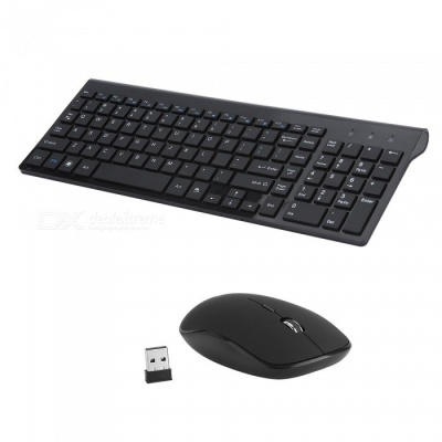 Full-size Whisper-quiet Compact Wireless Keyboard and Mouse Combo - Black