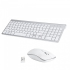 Full-size Whisper-quiet Compact Wireless Keyboard and Mouse Combo - White