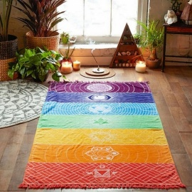 Wall Hanging Mandala Bohemia Mandala Blanket 7 Chakra Tapestry Rainbow Stripes Tapestry Travel Summer Beach Mat Bikini Cover Up