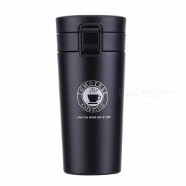 Fashion Stainless Steel Vacuum Thermos Cup Coffee Mug Insulation Water Bottle - Black (380ml )
