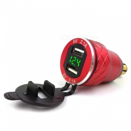 Eastor Aluminum Metal Shell Motorcycle Dual USB Charger w/ 4.2A Green Light Voltmeter for BMW Motorcycle - Red