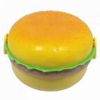 500ML Simulated Hamburger Style Three-Tier Lunch Box with Fork / Spoon for Office / School / Outdoor - Yellow